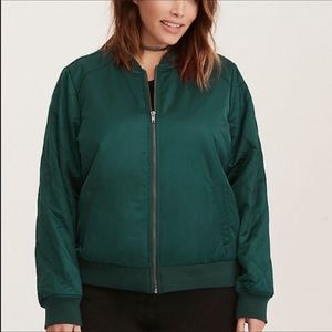Torrid Quilted Satin Emerald Bomber Jacket NWT 2X